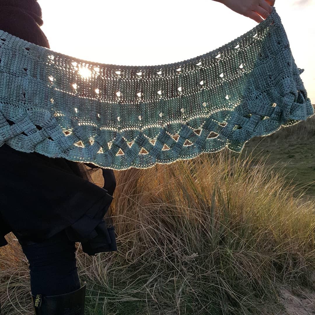 Macha crochet shawl by aoibhe ni in hedgehog fibers merino DK
