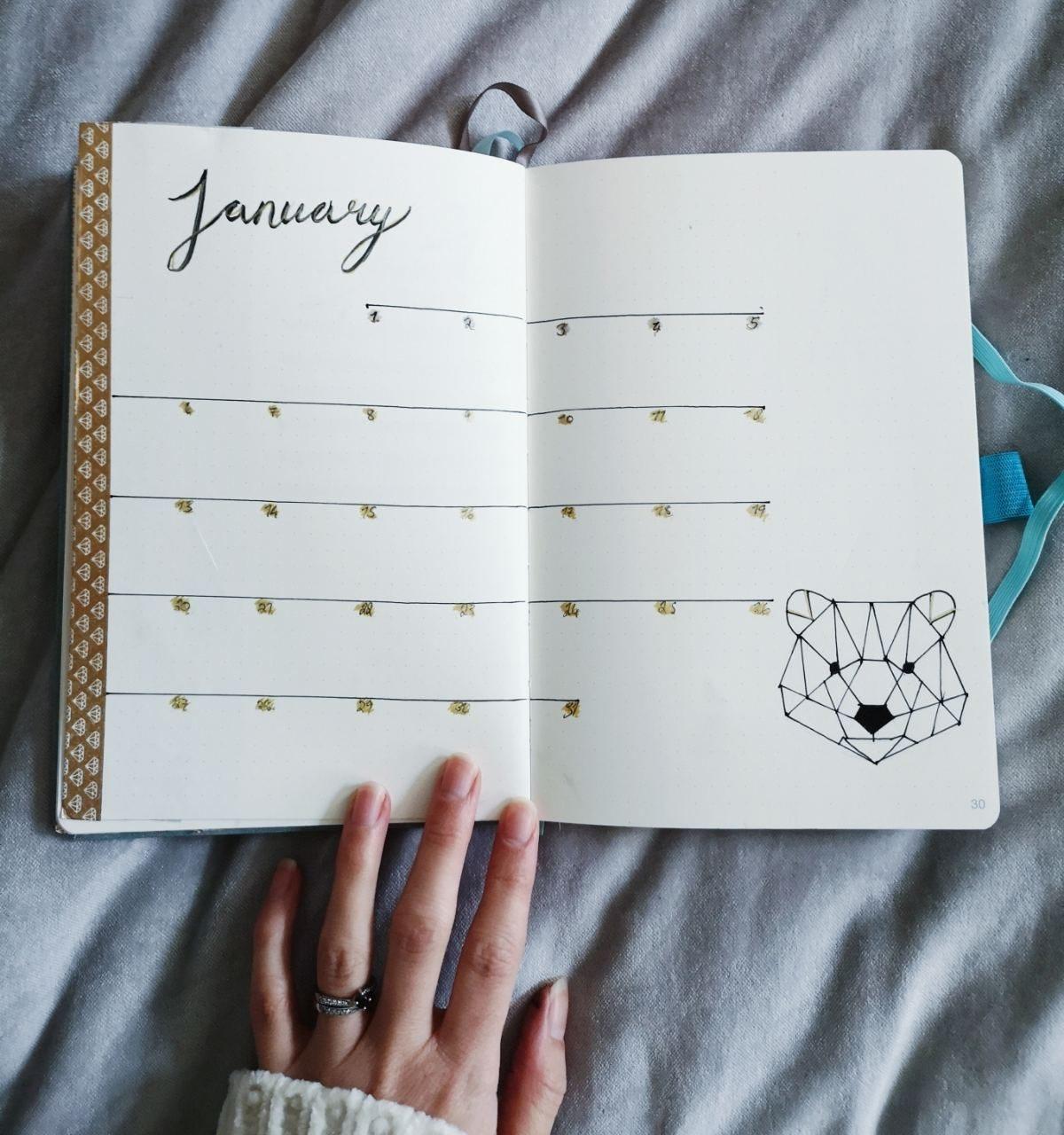 January Bullet Journal Set Up