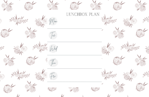 Free Lunchbox Planner Printable