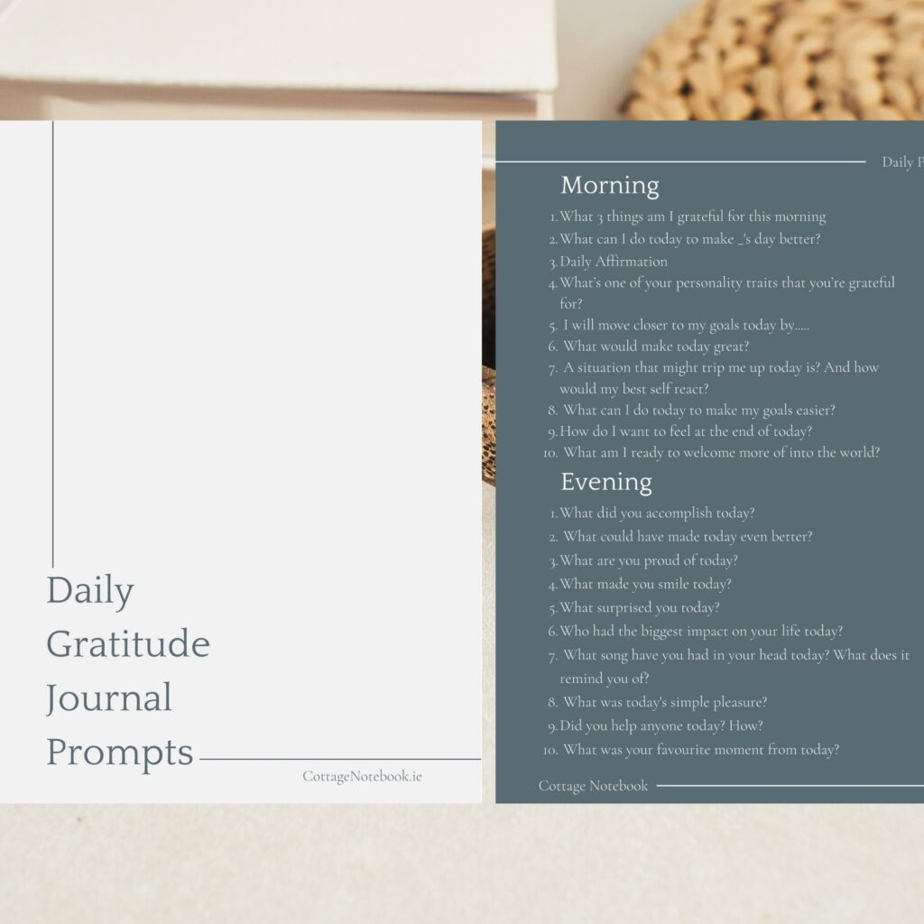 Daily Printable Gratitude Journal Prompts by The Cottage Notebook